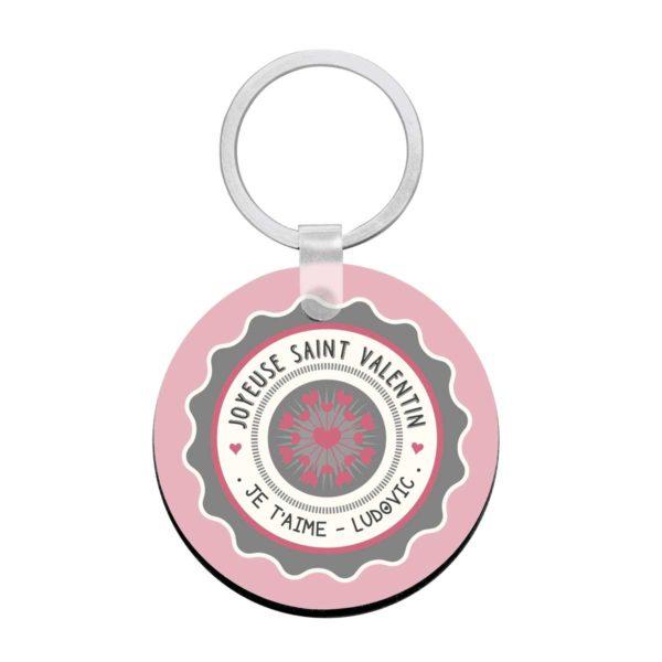 Porte clé à personnaliser avec prénom joyeuse st valentin