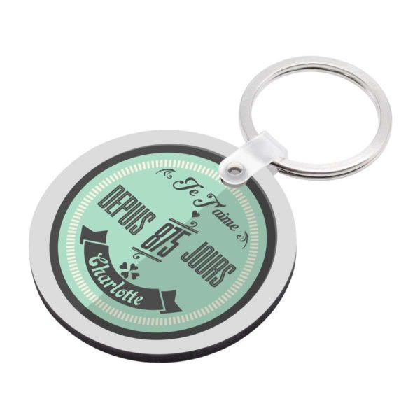 Porte clé à personnaliser avec prénom je t'aime avec date