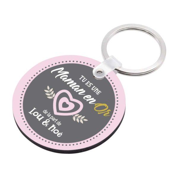 Porte clé à personnaliser avec prénoms maman en or