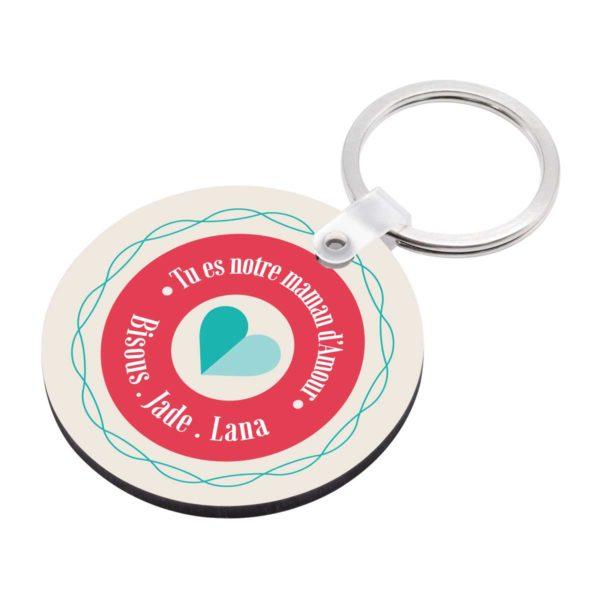 Porte clé à personnaliser avec prénoms tu es notre maman d'amour