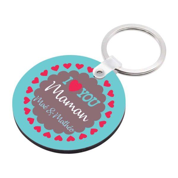 Porte clé à personnaliser avec prénoms je t'aime maman