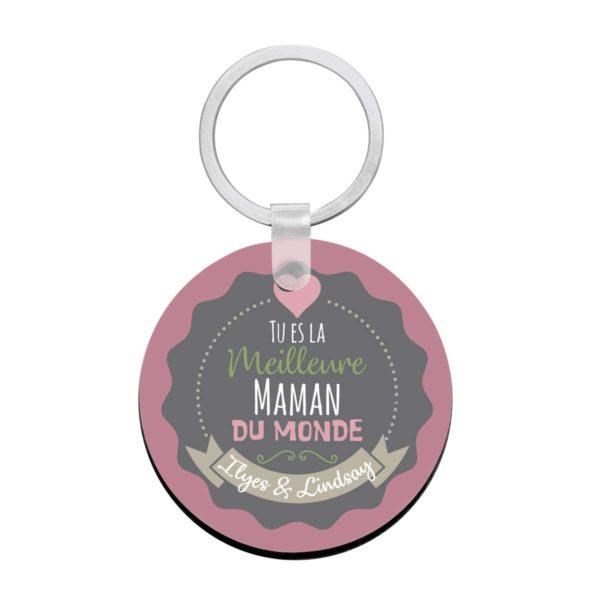 Porte clé à personnaliser avec prénoms meilleure maman