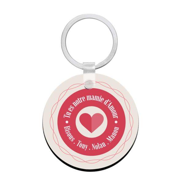 Porte clé à personnaliser avec prénoms mamie d'amour