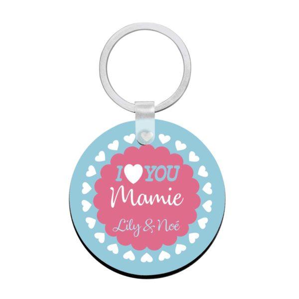 Porte clé à personnaliser avec prénoms je t'aime mamie