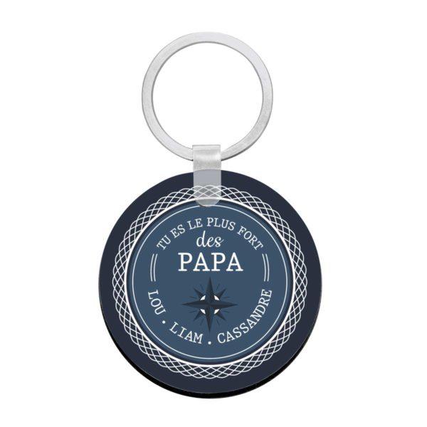 Porte clé à personnaliser avec prénoms papa le plus fort