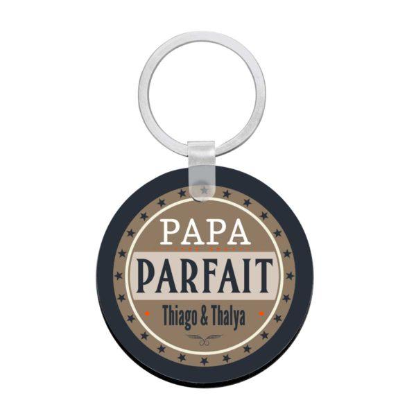 Porte clé à personnaliser avec prénoms mon papa est parfait