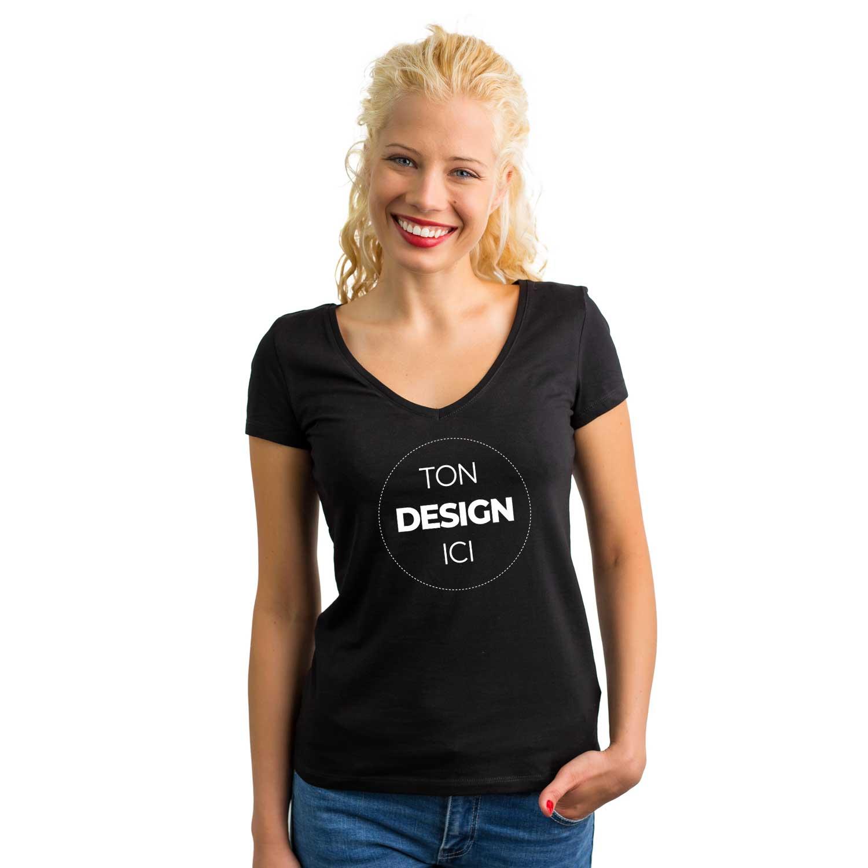 b5020ddc12de Tee shirt à personnaliser noir femme col V cintré - JoliSacs et ...
