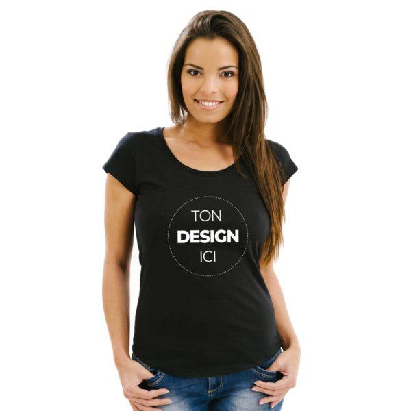 Tee shirt à personnaliser noir coupe cintrée col rond