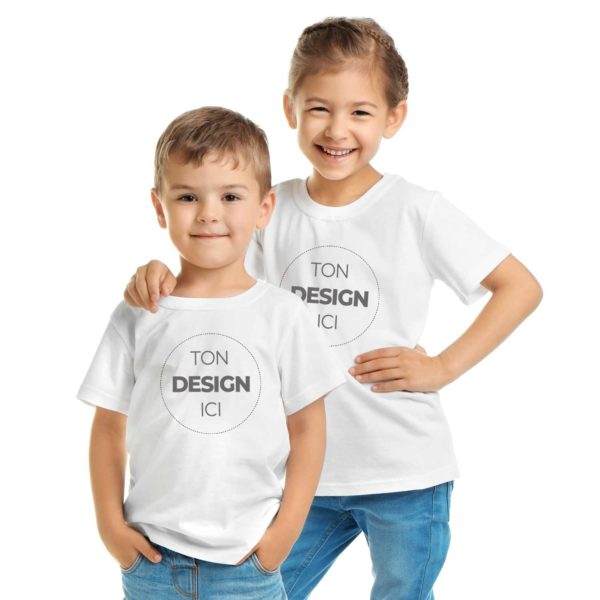 Tee shirt à personnaliser blanc enfant col rond