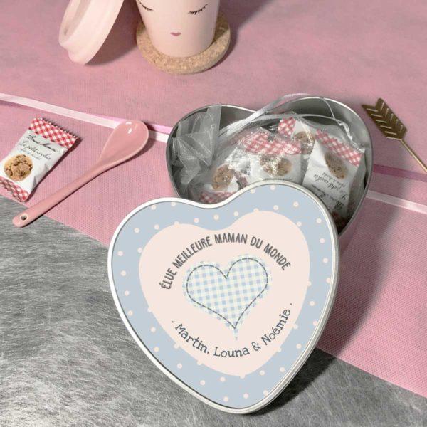 Cadeau maman. Boîte à personnaliser cœur élue meilleure maman