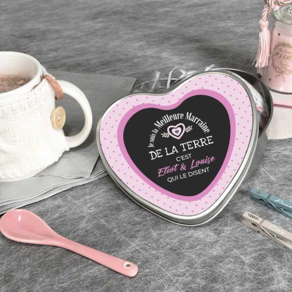 Cadeau marraine. Boîte à personnaliser cœur élue meilleure marraine