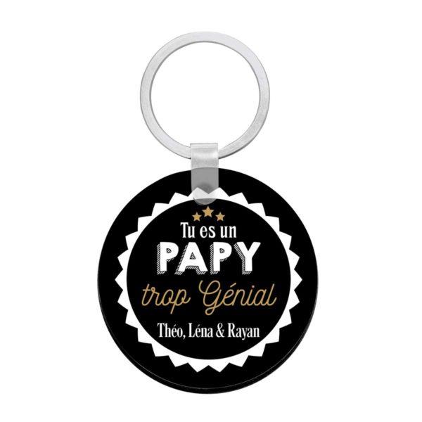 Porte clé à personnaliser avec prénoms papy top génial