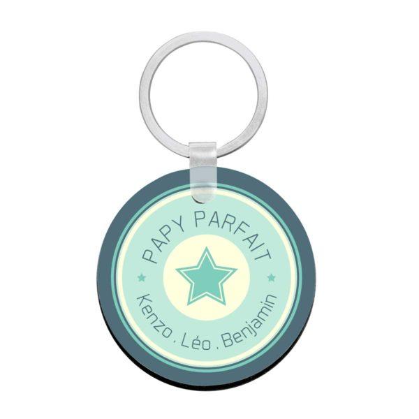 Porte clé à personnaliser avec prénoms papy parfait