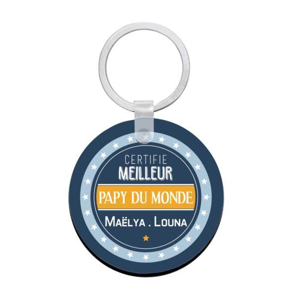 Porte clé à personnaliser avec prénoms certifié meilleur papy