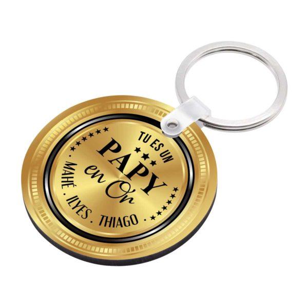 Porte clé à personnaliser avec prénoms tu es un papy en or