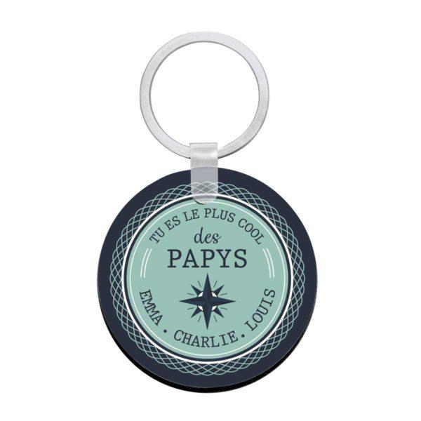 Porte clé à personnaliser avec prénoms tu es le plus cool des papys