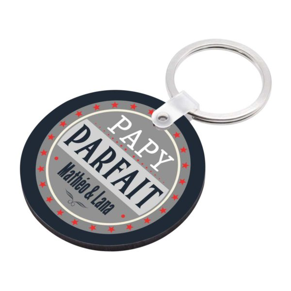 Porte clé à personnaliser avec prénoms mon papy est parfait
