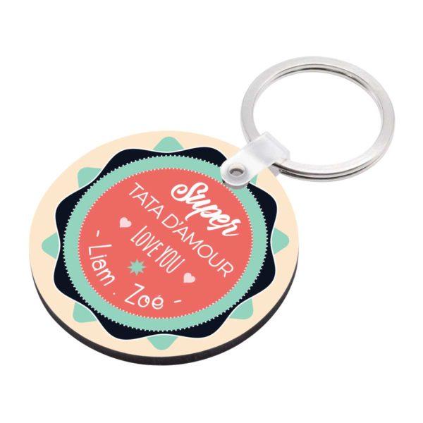 Porte clé à personnaliser avec prénoms super tata d'amour