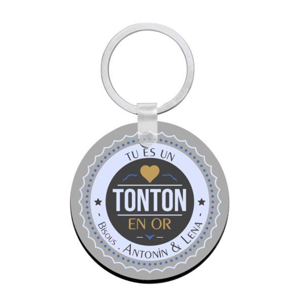 Porte clé à personnaliser avec prénoms tonton en or