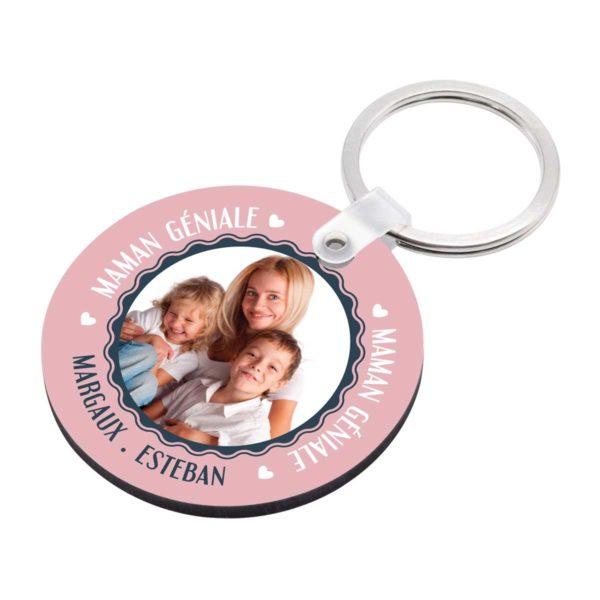 Cadeau maman. Porte clé à personnaliser avec prénoms maman géniale