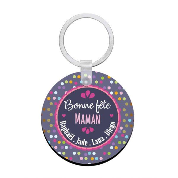Cadeau maman.Porte clé à personnaliser avec prénoms bonne fête maman