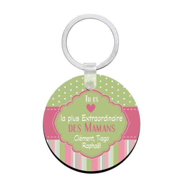 Cadeau maman.Porte clé à personnaliser avec prénoms maman extraordinaire