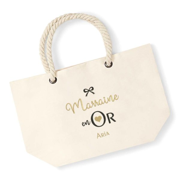 Cadeau marraine. Sac brodé marraine en or