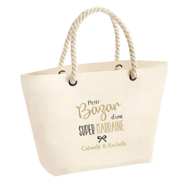 Cadeau marraine. Sac brodé bazar super marraine