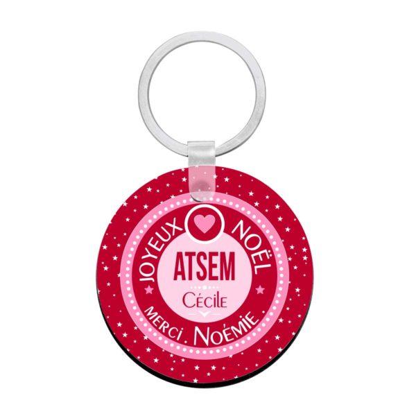 Cadeau noël atsem. Porte clé à personnaliser Atsem et prénoms