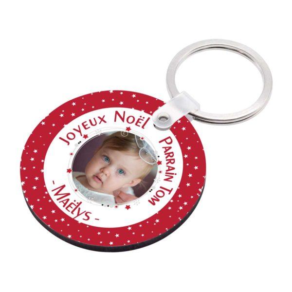 Cadeau noël parrain. Porte clé à personnaliser parrain et photo