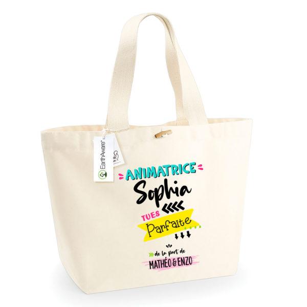 Cadeau animatrice - Sac shopping personnalisé cadeau animatrice parfaite