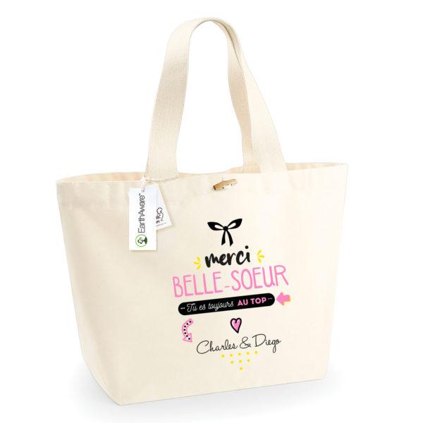 Cadeau belle-soeur - Sac shopping personnalisé belle-soeur au top