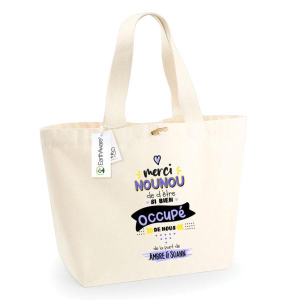 Idée cadeau nounou - Sac shopping personnalisé merci nounou